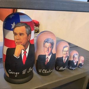 Other - Hand carved & painted US President Russian Nesting